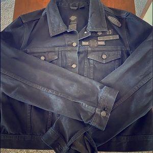 Harley-Davidson Navy denim coated jean jacket.